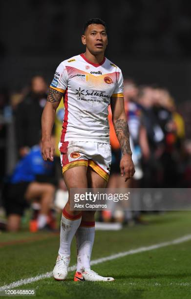 Israel Folau of Catalans Dragons looks on during the Betfred Super League match between Catalans Dragons and Castleford Tigers at Stade Gilbert...