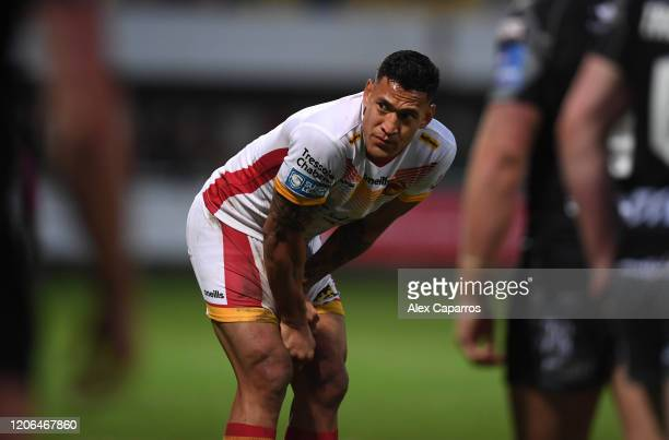 Israel Folau of Catalans Dragons reacts during the Betfred Super League match between Catalans Dragons and Castleford Tigers at Stade Gilbert Brutus...