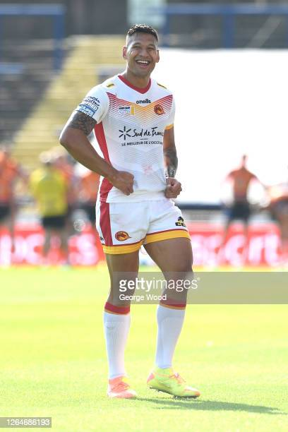 Israel Folau of Catalans Dragons reacts during the Betfred Super League match between Catalans Dragons and Castleford Tigers at Emerald Headingley...