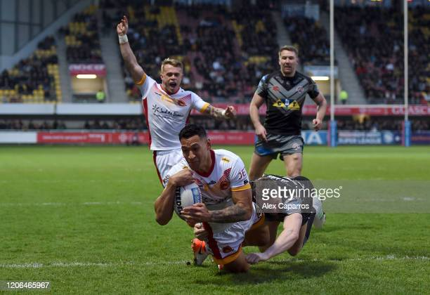 Israel Folau of Catalans Dragons scores his team's second try during the Betfred Super League match between Catalans Dragons and Castleford Tigers at...
