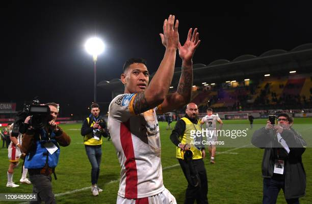 Israel Folau of Catalans Dragons shows appreciation to the fans following the Betfred Super League match between Catalans Dragons and Castleford...