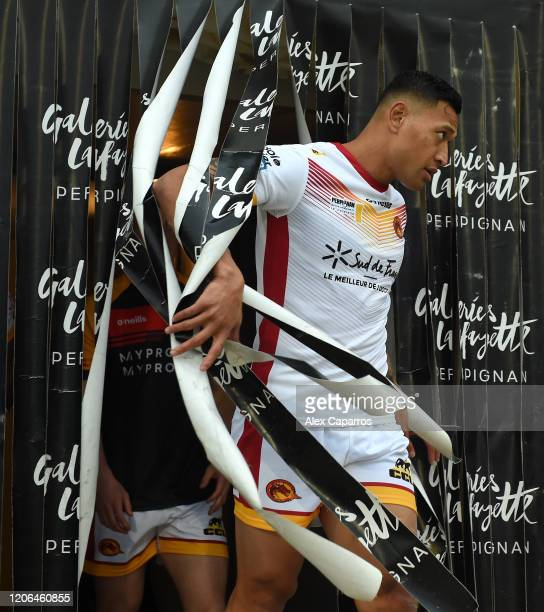 Israel Folau of Catalans Dragons walks out prior to the Betfred Super League match between Catalans Dragons and Castleford Tigers at Stade Gilbert...