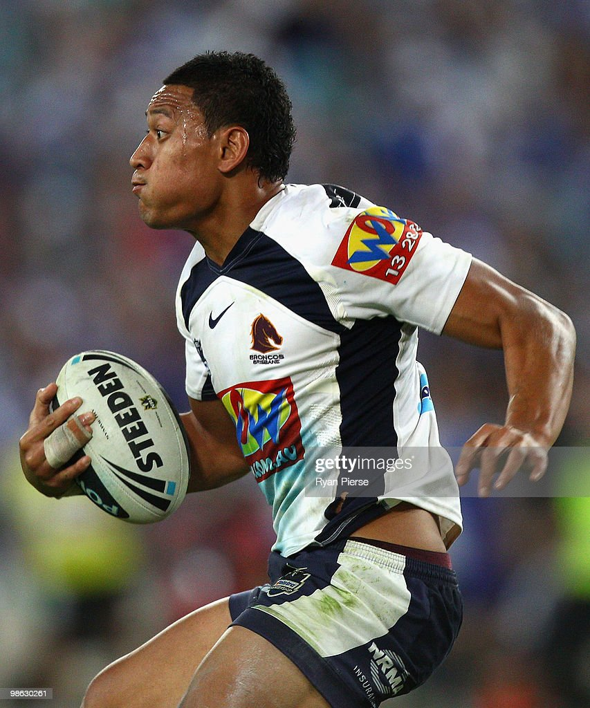 Israel Folau of the Broncos runs with the ball during the round seven NRL match between the Canterbury Bulldogs and the Brisbane Broncos at ANZ Stadium on April 23, 2010 in Sydney, Australia.