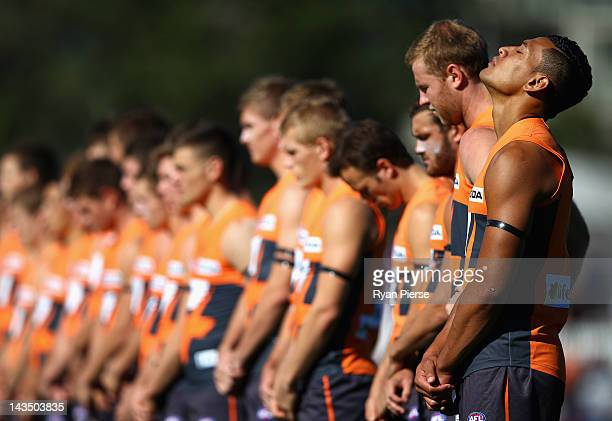 Israel Folau of the Giants looks on before the round five AFL match between the Greater Western Sydney Giants and the Western Bulldogs at Manuka Oval...