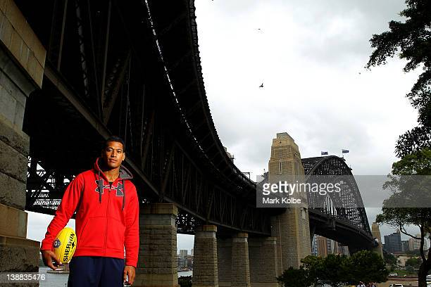 Israel Folau of the Greater Western Sydney Giants poses during a portrait session on February 7 2012 in Sydney Australia