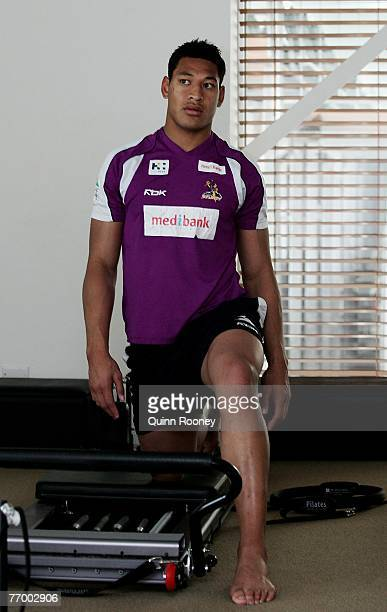 Israel Folau of the Storm deso pilattes during a Melbourne Storm Recovery Session at the Melbourne Sports and Aquatic Centre Wellness Centre on...