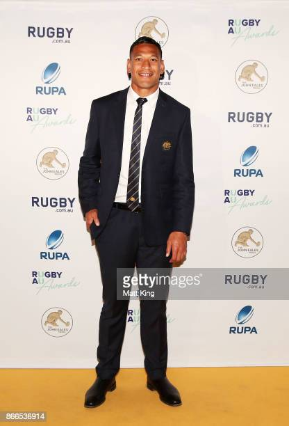 Israel Folau of the Wallabies arrives ahead of the 2017 Rugby Australia Awards at Royal Randwick Racecourse on October 26 2017 in Sydney Australia