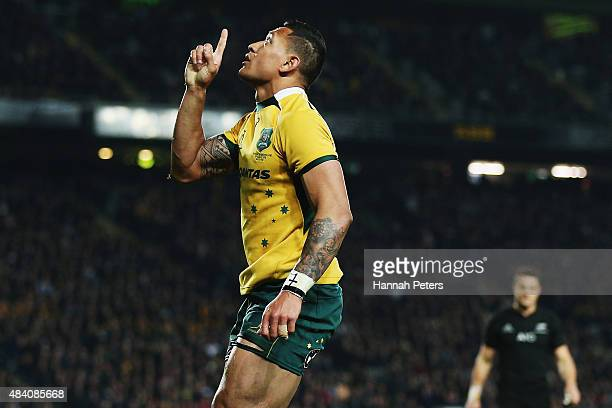 Israel Folau of the Wallabies celebrates after scoring a try during The Rugby Championship Bledisloe Cup match between the New Zealand All Blacks and...