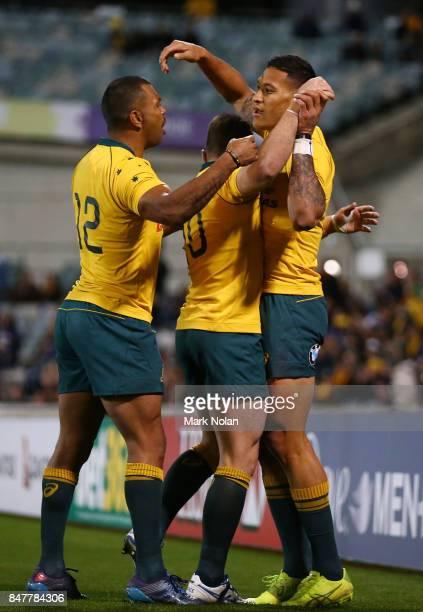 Israel Folau of the Wallabies celebrates scoring a try during The Rugby Championship match between the Australian Wallabies and the Argentina Pumas...