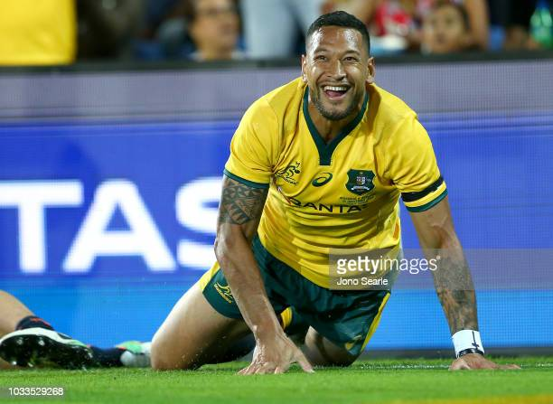Israel Folau of the Wallabies celebrates scoring a try in the corner during The Rugby Championship match between the Australian Wallabies and...