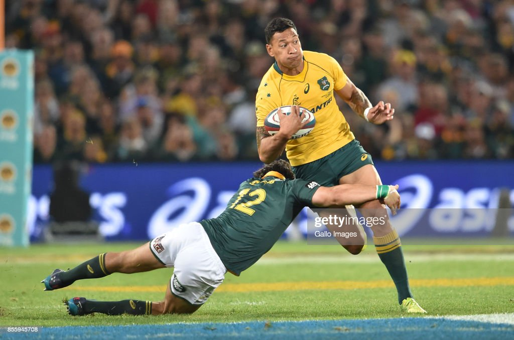 Israel Folau of the Wallabies during the Rugby Championship 2017 match between South Africa and Australia at Toyota Stadium on September 30, 2017 in Bloemfontein, South Africa.