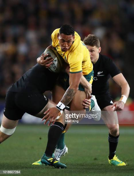 Israel Folau of the Wallabies is tackled during The Rugby Championship Bledisloe Cup match between the Australian Wallabies and the New Zealand All...