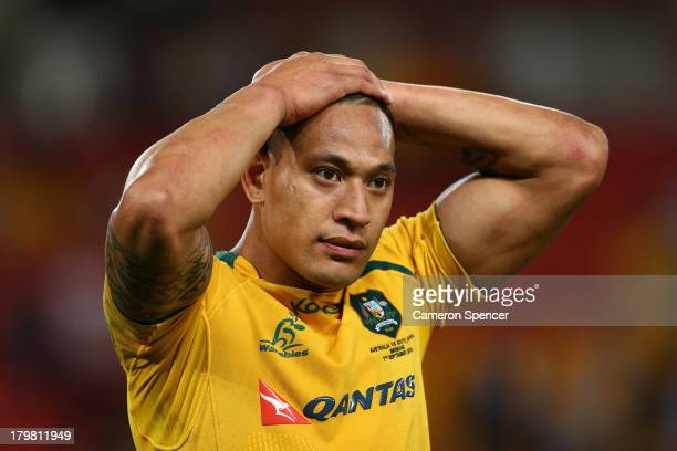 Israel Folau of the Wallabies looks dejected after losing The Rugby Championship match between the Australian Wallabies and the South African...