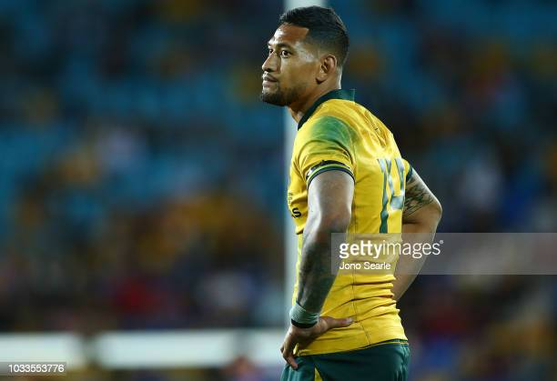 Israel Folau of the Wallabies looks dejected during The Rugby Championship match between the Australian Wallabies and Argentina Pumas at Cbus Super...