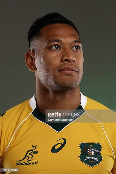 Israel Folau of the Wallabies poses during an Australian Wallabies portrait session on May 30 2016 in Sunshine Coast Australia