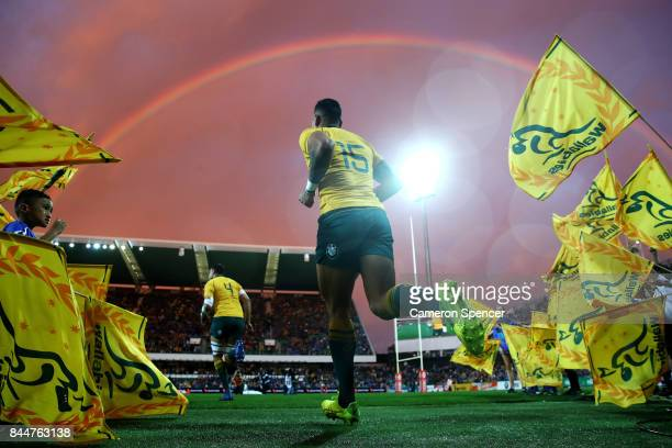 Israel Folau of the Wallabies runs onto the field during The Rugby Championship match between the Australian Wallabies and the South Africa...