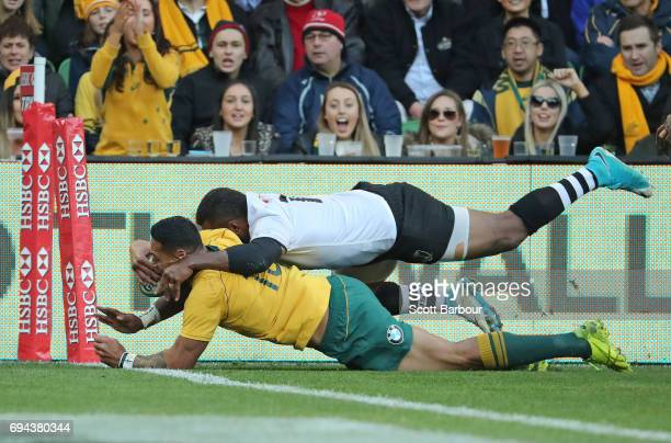 Israel Folau of the Wallabies scores his second try during the International Test match between the Australian Wallabies and Fiji at AAMI Park on...