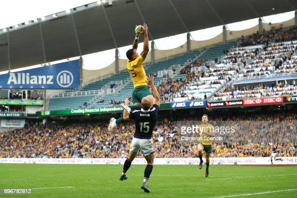 Israel Folau of the Wallabies takes a high ball and score a try during the International Test match between the Australian Wallabies and Scotland at...