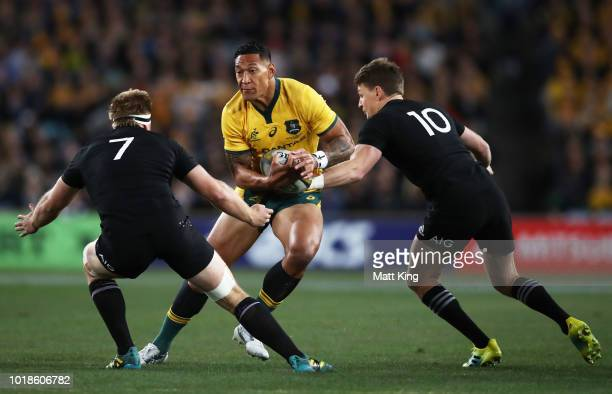 Rieko Ioane of the All Blacks is tackled during The Rugby Championship Bledisloe Cup match between the Australian Wallabies and the New Zealand All...