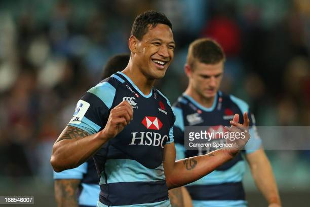 Israel Folau of the Waratahs celebrates winning the round 13 Super Rugby match between the Waratahs and the Stormers at Allianz Stadium on May 11...
