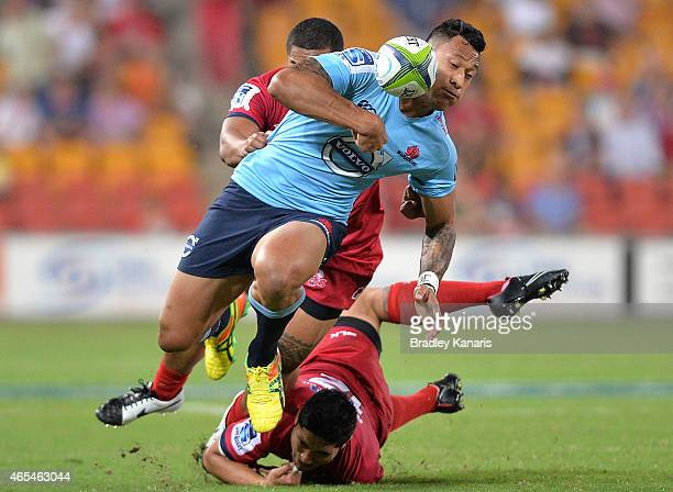 Israel Folau of the Waratahs drops the ball during the round 4 Super Rugby match between the Queensland Reds and the New South Wales Waratahs at...