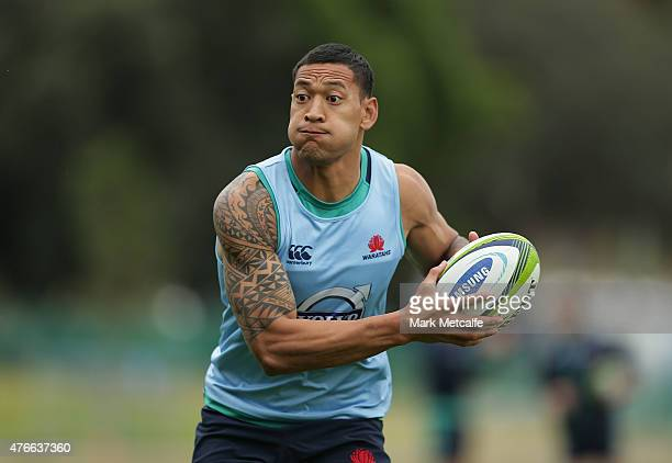 Israel Folau of the Waratahs in action during a Waratahs Super Rugby training session at Allianz Stadium on June 11 2015 in Sydney Australia