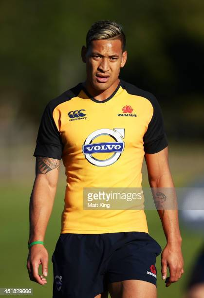 Israel Folau of the Waratahs looks on during a Waratahs Super Rugby training session at Kippax Lake on July 8 2014 in Sydney Australia
