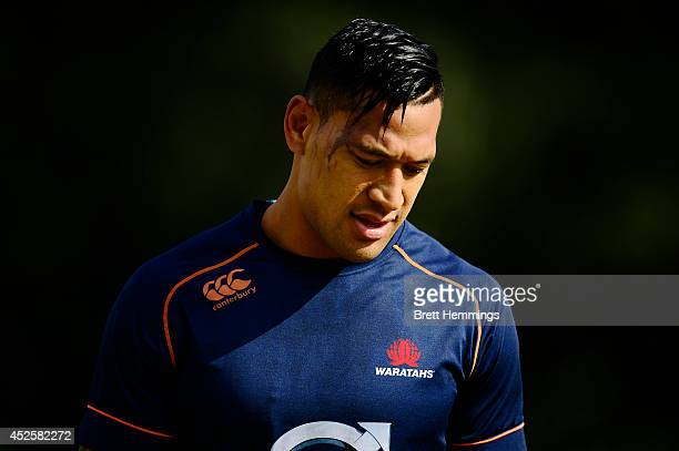 Israel Folau of the Waratahs looks on during a Waratahs Super Rugby training session at Kippax Lake on July 24 2014 in Sydney Australia