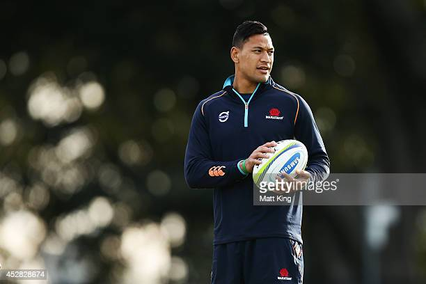 Israel Folau of the Waratahs looks on during a Waratahs Super Rugby training session at Moore Park on July 28 2014 in Sydney Australia