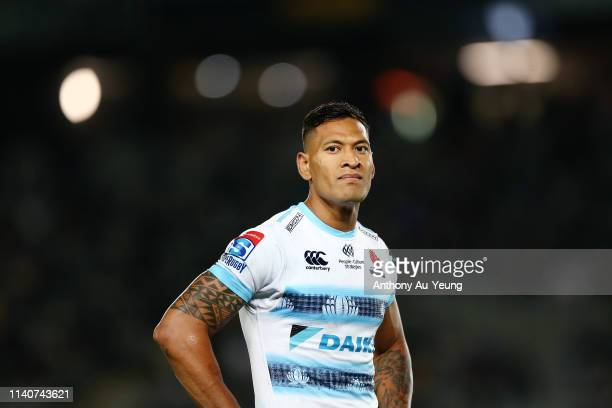 Israel Folau of the Waratahs looks on during the round 8 Super Rugby match between the Blues and Waratahs at Eden Park on April 06 2019 in Auckland...
