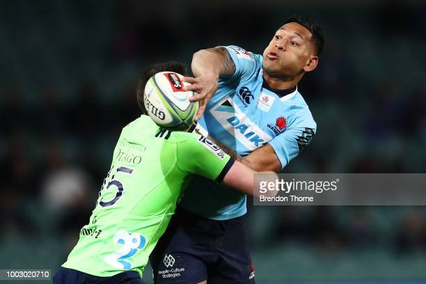 Waisake Naholo of the Highlanders celebrates with team mates after scoring a try during the Super Rugby Qualifying match between the Waratahs and the...