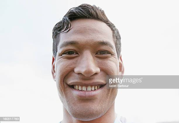Israel Folau of the Waratahs poses for a portrait after the Super Rugby trial match between the Waratahs and the Rebels at North Hobart Stadium on...