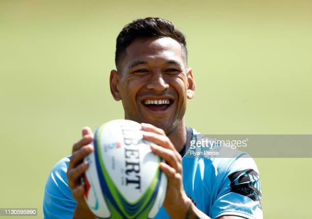 Israel Folau of the Waratahs warms up during the Waratahs Training Session at David Philips Sport Complex on February 19 2019 in Sydney Australia