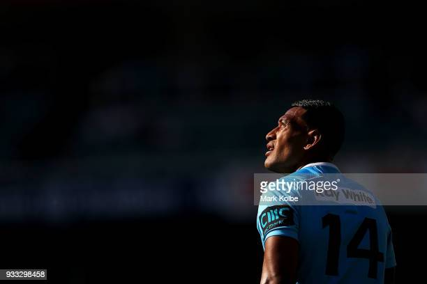 Israel Folau of the Waratahs watches on during the round five Super Rugby match between the Waratahs and the Rebels at Allianz Stadium on March 18...