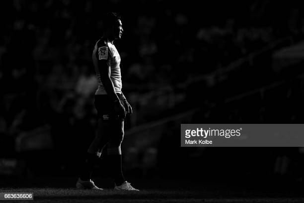 Israel Folau of the Waratahs watches on during the round six Super Rugby match between the Waratahs and the Crusaders at Allianz Stadium on April 2...