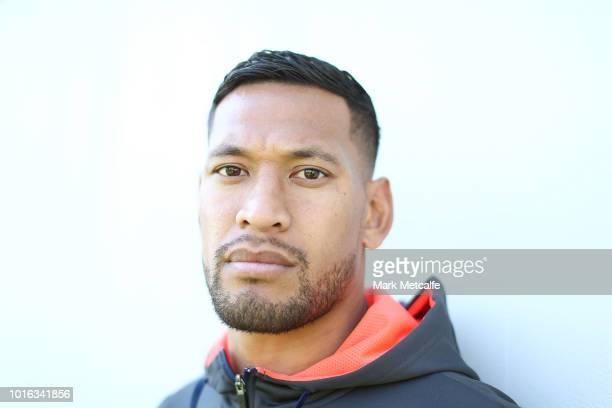Israel Folau poses before a Wallabies training session at NSWRL Centre of Excellence Field on August 14, 2018 in Sydney, Australia.