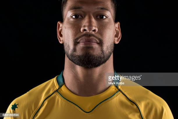 Israel Folau poses during an Australian Wallabies headshots session at Fox Sports on May 15 2017 in Sydney Australia