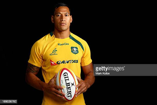 Israel Folau poses during an Australian Wallabies portrait shoot on April 12 2013 in Sydney Australia