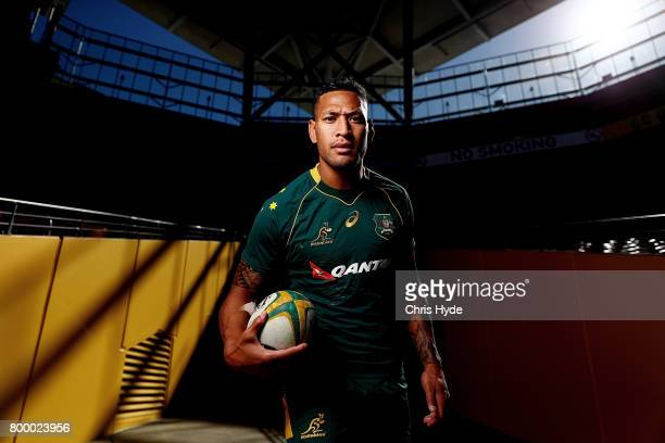 Israel Folau poses during the Australian Wallabies Captain's Run at Suncorp Stadium on June 23 2017 in Brisbane Australia