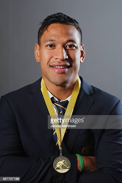 Israel Folau poses with the 2014 John Eales Medal at Royal Randwick Racecourse on October 23 2014 in Sydney Australia