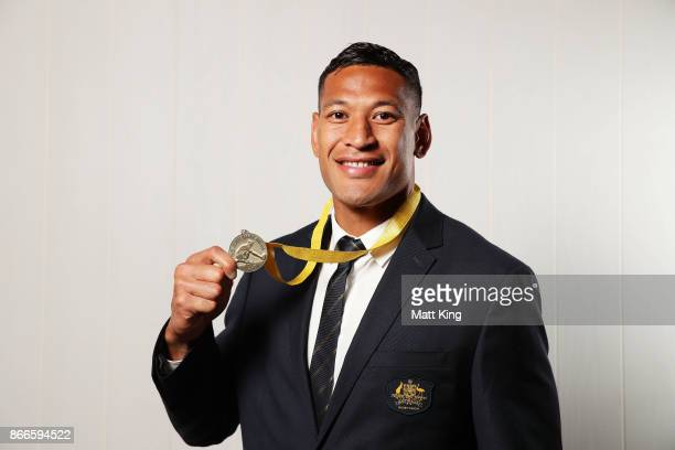 Israel Folau poses with the John Eales Medal during the 2017 Rugby Australia Awards at Royal Randwick Racecourse on October 26 2017 in Sydney...
