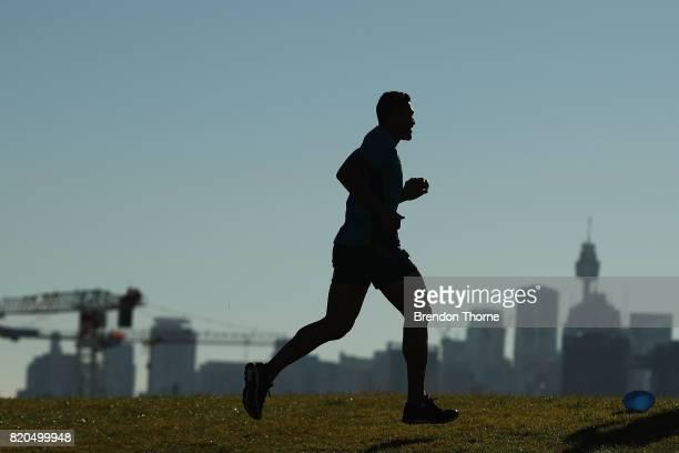 Israel Folau runs during a Wallabies hills training session on July 22 2017 in Sydney Australia
