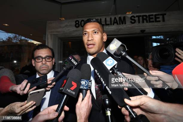 Israel Folau speaks to media following his conciliation meeting with Rugby Australia at Fair Work Commission on June 28 2019 in Sydney Australia