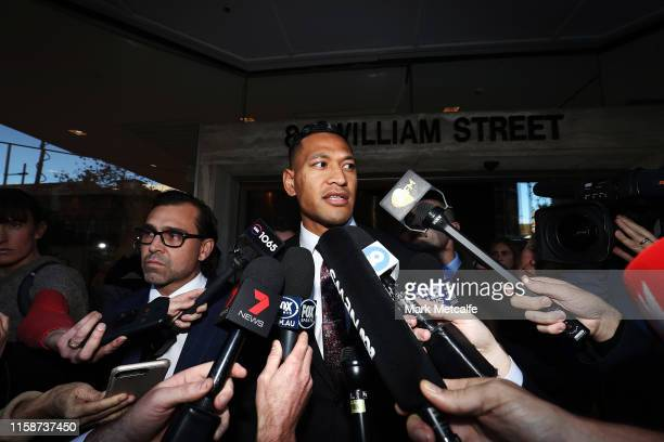 Israel Folau speaks to media following his conciliation meeting with Rugby Australia at Fair Work Commission on June 28, 2019 in Sydney, Australia.
