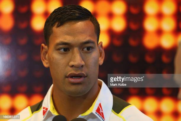 Israel Folau speaks to the media during an ARU Wallabies press conference announcing his inclusion in the Wallabies players assembly at ARU...