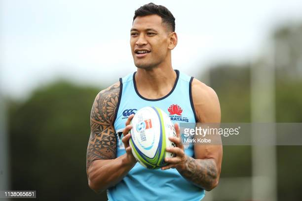 Israel Folau watches on during a Waratahs Super Rugby training session at David Phillips Sports Complex on March 25 2019 in Sydney Australia