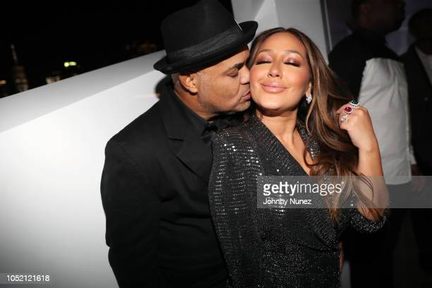 Israel Houghton and Adrienne Bailon attend the Lumiere De Vie Hommes Launch Event Aboard Superyacht Utopia IV on October 13 2018 in New York City