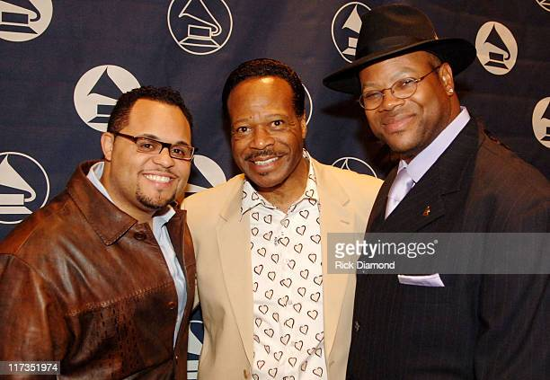 Israel Houghton Edwin Hawkins and Jimmy Jam during GRAMMY Salute to Gospel Music at Millennium Biltmore Hotel in Los Angeles California United States