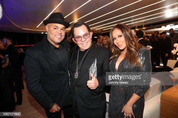 Israel Houghton JR Ridinger and Adrienne Bailon attend the Lumiere De Vie Hommes Launch Event Aboard Superyacht Utopia IV on October 13 2018 in New...