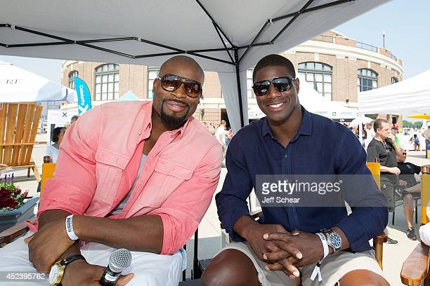 Israel Idonije and Jerry Azumah attend Michigan Avenue Magazine And The Chicago Yacht Club Host Ashore Thing Presented By BMO Harris Bank at Navy...